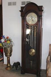 Grandfather Clock and Metal Pedestal