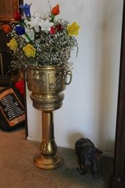 Metal Pedestal Pot / Ice Bucket. You decide! with Floral Arrangement and Small Elephant Figurine