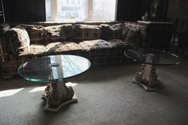 Plaid Sofa and Pair of Round Glass Topped Pedestal Coffee Tables