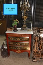 Pair of Inlaid Commodes with Bronze Ormalu and Pair of Vintage Candelabra Lamps
