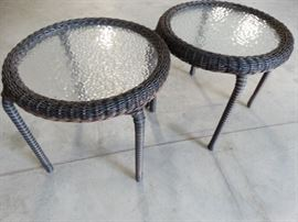 Two Round Wicker Side Tables