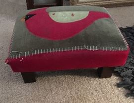I love this cute folk-artsy footstool with a cardinal on it!