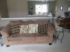Sofa and glass top end tables