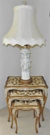 Florentine nest of tables-SOLD.  Lamp with gilt arms over white bisque cherub base. Beautiful lampshade in great condition.