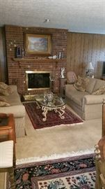 Nice overview of living room with Sherrill Sofa and Love seat with handmade wool 4 x 6 rug