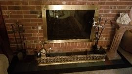 Nice selection of fire place irons with brass guard