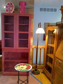 Red Wooden Storage Shelves