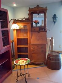 Antique Drop Leaf Desk w/ Glass Curio and Drawers