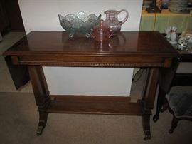 WOOD DROP LEAF SMALL BUFFET TABLE, COLOR GLASS