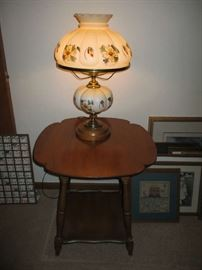 LAMP, WOOD SIDE TABLE