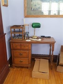 Vintage desk, wood file tray, desk lamp
