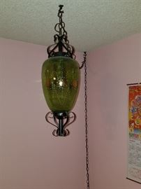 Awesome vintage swag lamp, works too!