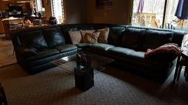 Natuzi Green Leather Sectional Sofa