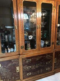 Drexel-Heritage Chinoiserie China Cabinet that lights up.