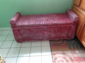 wicker bench w/storage