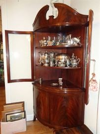 vintage corner cabinet w/doors open, much silver in this sale