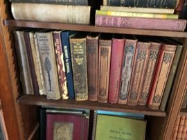 Loads of of German leather bound books in German Gothic script - including works by Goethe (maybe complete) Also books from rare religous sects -