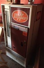Vintage Dr Pepper Bottle Vending Machine.  It was working the last time it was plugged in.