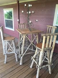 Rustic style wood branch table and chairs