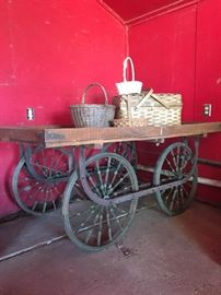 Antique European Cart, possibly for rail passenger luggage or a old Vineyard cart.
