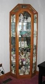 light oak curio cabinet, items inside not for sale, sorry  BUY IT NOW   $ 125.00