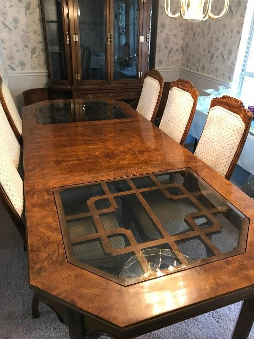 Super Nice Burl Walnut Dining Table and China