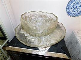 Beautiful Huge Glass Punch Bowl
