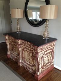 19th century french baker's counter with marble counter
