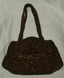 Women's Beaded Brown Evening Bag