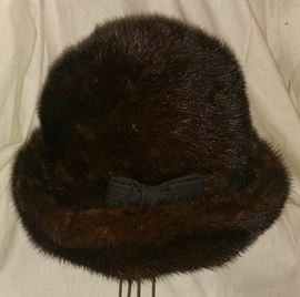 Vintage Fur Hat with Bow