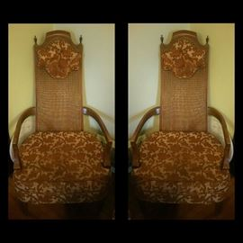 Two Vintage High Back Barrel Cane Back With Head Rest Chairs