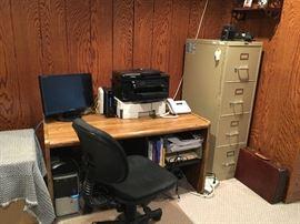 Computer Desk, Chair, File Cabinet, Printer, Monitor