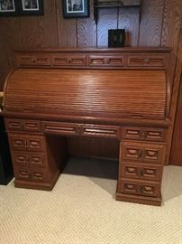 Desk with Roll-Top. Late Mid-Century, Sturdy Oak Wood Buy it NOW $300