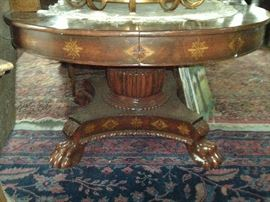 CLAW FOOT ROUND TOP TABLE WITH HAND DECORATION $495.00