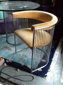 MID CENTURY WIRE CHAIR $495.00. TABLE WITH GLASS TOP $895.00