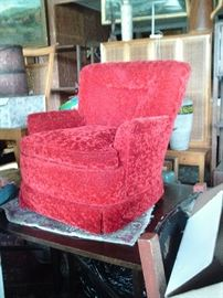 CRUSHED RED VELVET SLIPPER CHAIR $175.00