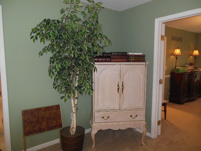 Silk tree and beautiful cabinet!!