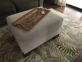 Ottoman and Southern Living at Home tray as well as area rug