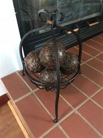 Orbs and metal basket