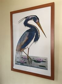"""Large """"Louisiana Blue Heron"""" by artist Dan Mitra. Colors are MUCH more vibrant than this photo shows."""