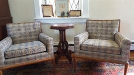 Club chairs in the style of T.H. Robsjohn-Gibbings for Widdicomb (no visible marks).