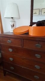 Gorgeous dresser, Hermes hat box, Pheasant lamp