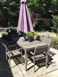 Outdoor Dining table six chairs & umbrella