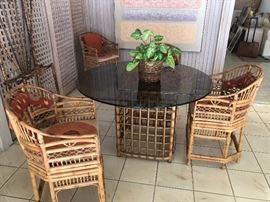 Bamboo table with 6 chairs possibly by Brighton