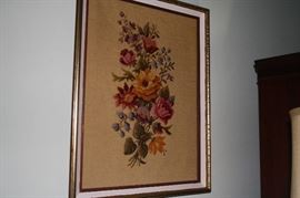 Needlepoint floral done by house owner in the 80s.