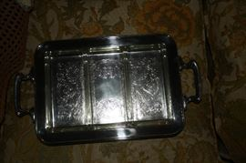 "Silverplate tray, roughly 10"" x 13"" with three glass dishes."