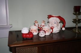 Collection of Santa Claus Mugs, Salt & Pepper, Pitcher, etc.