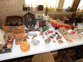 Cuckoo Clocks, tine toys, wooden vintage toys, miniature bottles.