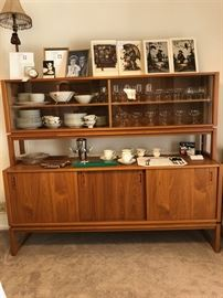 Mid Century Modern Danish Teak Wood China Cabinet Hutch w/ Glass Doors, Martini Set, Hummel Prints