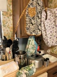 Vintage Aprons and Kitchenware, Large Assortment of Kitchen Utensils